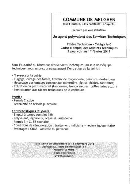 Offre D Emploi Melgven Mairie De Saint Yvi